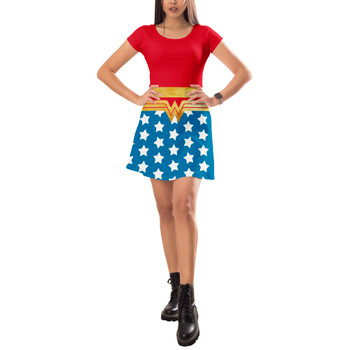 Short Sleeve Dress - Wonder Woman Super Hero Inspired