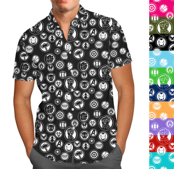 Men's Button Down Short Sleeve Shirt - Infinity War Superhero Inspired