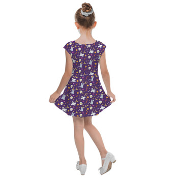 Girls Cap Sleeve Pleated Dress - Halloween Mickey & Minnie Ghosts