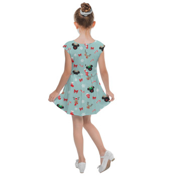 Girls Cap Sleeve Pleated Dress - Christmas Mickey & Minnie Reindeers