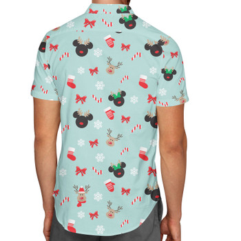Men's Button Down Short Sleeve Shirt - Christmas Mickey & Minnie Reindeers
