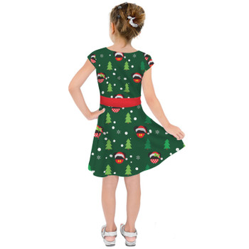 Girls Short Sleeve Skater Dress - Christmas Santa Mickey & Minnie