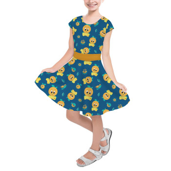 Girls Short Sleeve Skater Dress - Orange Bird Disney Parks Inspired