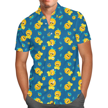 Men's Button Down Short Sleeve Shirt - Orange Bird Disney Parks Inspired