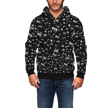 Men's Zip Up Hoodie - Space Ship Battle Star Wars Inspired