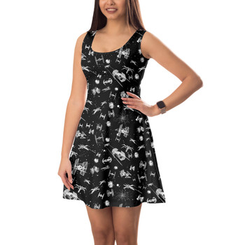 Sleeveless Flared Dress - Space Ship Battle Star Wars Inspired