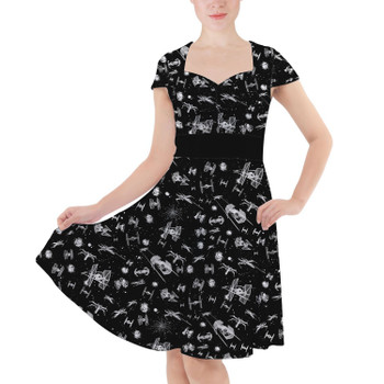 Sweetheart Midi Dress - Space Ship Battle Star Wars Inspired