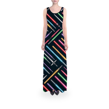 Flared Maxi Dress - Lightsabers Star Wars Inspired