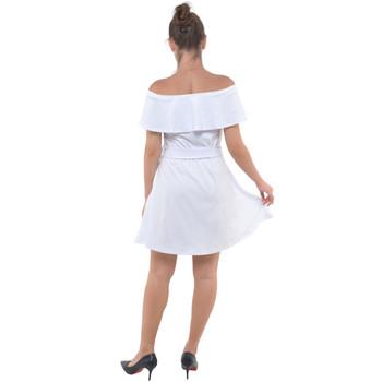Velour Off Shoulder Ruffle Dress