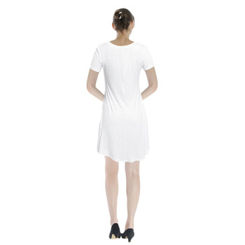 V-Neck Short Sleeve Flared Dress