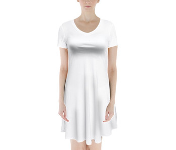 V-Neck Short Sleeve Flared Dress