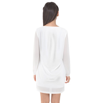 Long Sleeve Chiffon Shift Dress