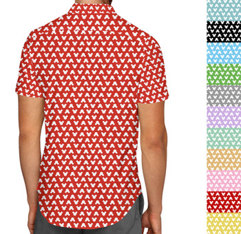 Men's Button Down Short Sleeve Shirt - Mouse Ears Polka Dots