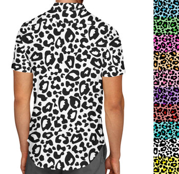 Men's Button Down Short Sleeve Shirt - Bright Leopard Print