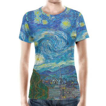 Women's Cotton Blend T-Shirt - Van Gogh Starry Night