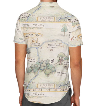 Men's Button Down Short Sleeve Shirt - Hundred Acre Wood Map Winnie The Pooh Inspired
