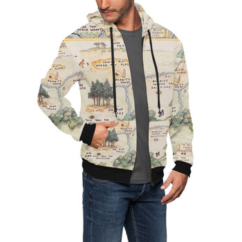 Men's Zip Up Hoodie - Hundred Acre Wood Map Winnie The Pooh Inspired