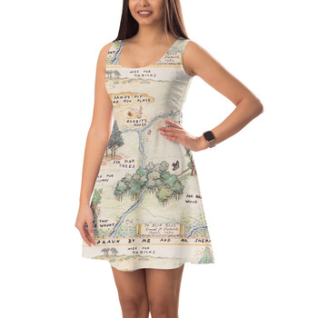 Sleeveless Flared Dress - Hundred Acre Wood Map Winnie The Pooh Inspired