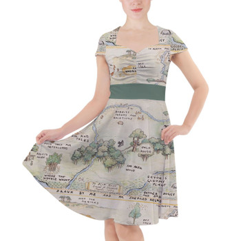 Sweetheart Midi Dress - Hundred Acre Wood Map Winnie The Pooh Inspired