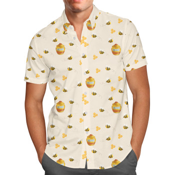 Men's Button Down Short Sleeve Shirt - Hunny Pots Winnie The Pooh Inspired