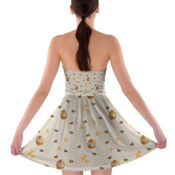 Sweetheart Strapless Skater Dress - Hunny Pots Winnie The Pooh Inspired
