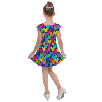 Girls Cap Sleeve Pleated Dress - Mickey Ears Balloons Disney Inspired