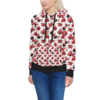 Women's Zip Up Hoodie - Minnie Bows and Mouse Ears