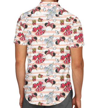 Men's Button Down Short Sleeve Shirt - Minnie Best Day Ever