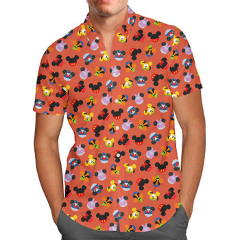 Men's Button Down Short Sleeve Shirt - Mickey & Friends Mouse Ears