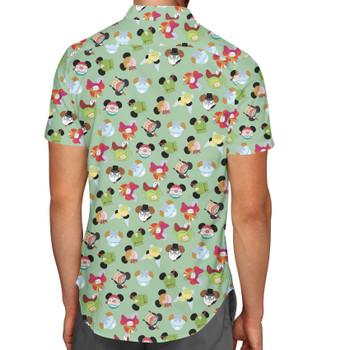 Men's Button Down Short Sleeve Shirt - Peter Pan Mouse Ears