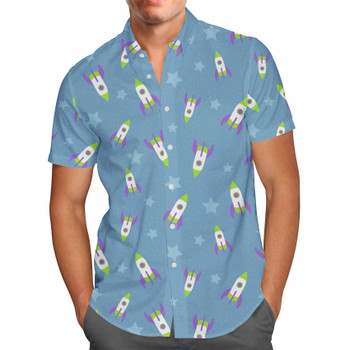 Men's Button Down Short Sleeve Shirt - Buzz Lightyear Space Ships