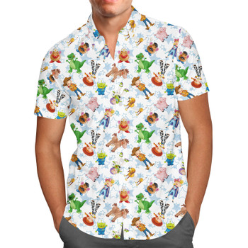 Men's Button Down Short Sleeve Shirt - Toy Story Friends