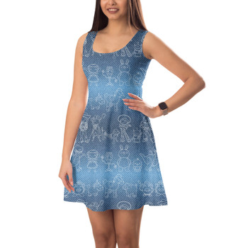 Sleeveless Flared Dress - Toy Story Line Drawings