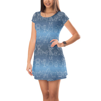 Short Sleeve Dress - Toy Story Line Drawings