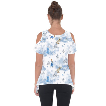 Cold Shoulder Tunic Top - Winter Landscape Frozen Inspired