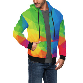 Men's Zip Up Hoodie - Rainbow Geometric Shapes