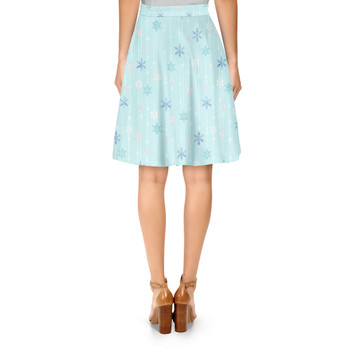 A-Line Skirt - Frozen Ice Queen Snow Flakes