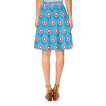 A-Line Skirt - Captain America Logo Superhero Inspired