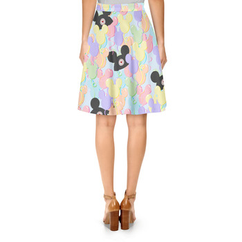 A-Line Skirt - Pastel Mickey Ears Balloons Disney Inspired
