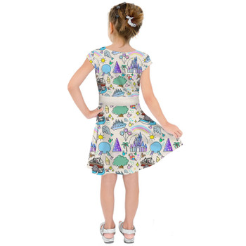 Girls Short Sleeve Skater Dress - Walt Disney World Park Icons Light