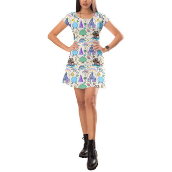 Short Sleeve Dress - Walt Disney World Park Icons Light