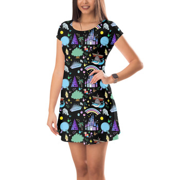 Short Sleeve Dress - Walt Disney World Park Icons Dark