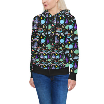 Women's Zip Up Hoodie - Walt Disney World Park Icons Dark