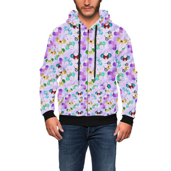 Men's Zip Up Hoodie - Princess Minnie Ears