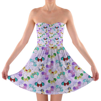 Sweetheart Strapless Skater Dress - Princess Minnie Ears
