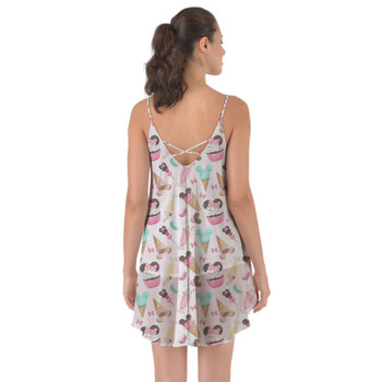 Beach Cover Up Dress - Mouse Ears Snacks in Pastel Watercolor