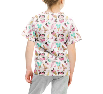 Youth Cotton Blend T-Shirt - Mouse Ears Snacks in Pastel Watercolor