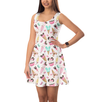 Sleeveless Flared Dress - Mouse Ears Snacks in Pastel Watercolor