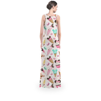 Flared Maxi Dress - Mouse Ears Snacks in Pastel Watercolor