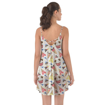 Beach Cover Up Dress - Mouse Ears Snacks in Primary Color Watercolor